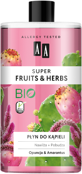 AA SUPER FRUITS&HERBS płyn do kąpieli opuncja+amarantus 750ml