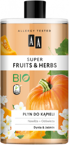 AA SUPER FRUITS&HERBS płyn do kąpieli dynia&jaśmin 750ml