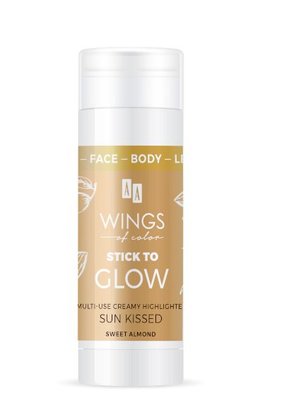 AA WINGS OF COLOR Face&Body&Leg Stick To Glow Multiuse Creamy Highlighter Sun Kissed Sweet Almond 25g