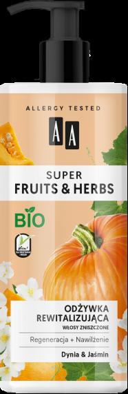AA SUPER FRUITS&HERBS odżywka rewitalizująca włosy zniszczone dynia&jaśmin 500 ml, Nr Ref.: 70063