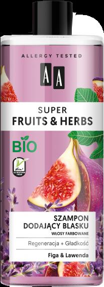 AA SUPER FRUITS&HERBS szampon dodający blasku włosy farbowane figa&lawenda 500 ml, Nr Ref.: 70018