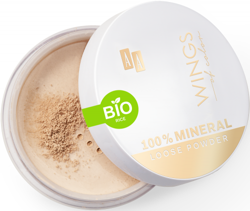 AA WINGS OF COLOR 100% MINERAL BIO RICE LOOSE POWDER 13 TRANSPARENT 8G