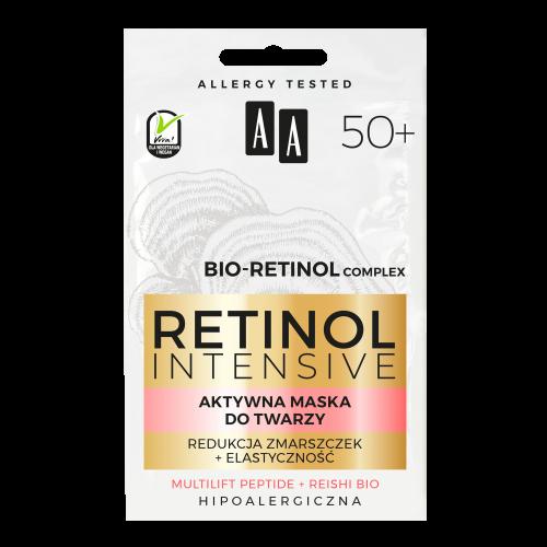 AA RETINOL INTENSIVE 50+ aktywna maska do twarzy redukcja zmarszczek+elastyczność 2x5ml