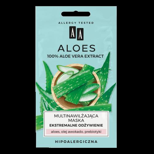 AA ALOES 100% aloe vera extract multinawilżająca maska ekstremalne odżywienie 2x4ml