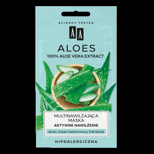 AA ALOES 100% aloe vera extract multinawilżająca maska aktywne nawilżenie 2x4ml