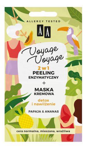 AA VOYAGE VOYAGE 2w1 peeling enzymatyczny+maska kremowa papaja&ananas 2x5ml