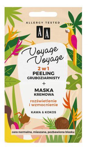 AA VOYAGE VOYAGE 2w1 peeling gruboziarnisty+maska kremowa kawa&kokos 2x5ml