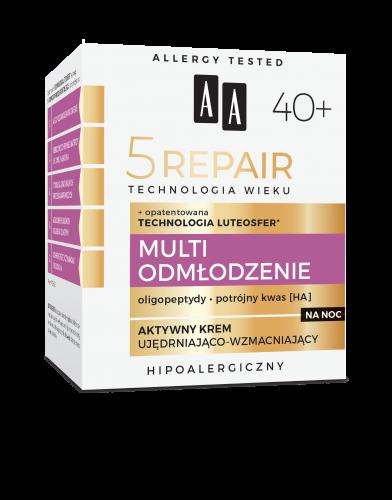 AA Technologia Wieku 5Repair 40+ Multi Odmłodzenie Aktywny nocny krem ujędrniająco-wzmacniający 50 ml
